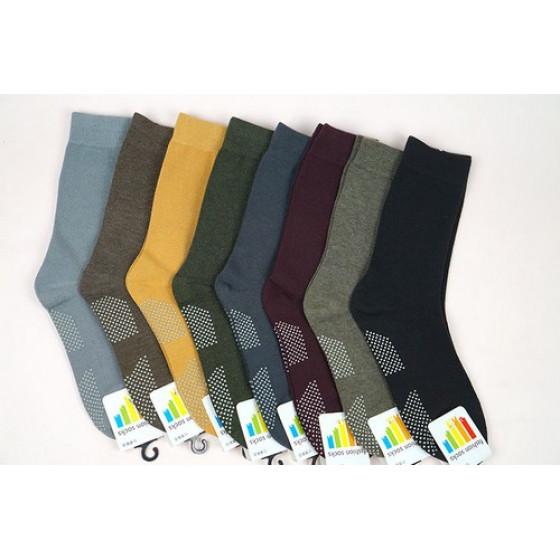 中長筒成人襪-保暖襪-休閒襪-腳底防滑-混紡棉(顏色隨機) J-13580