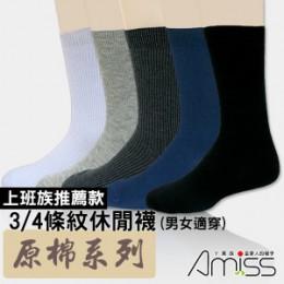 品名: 原棉主義‧條紋休閒男襪(深藍) J-12975