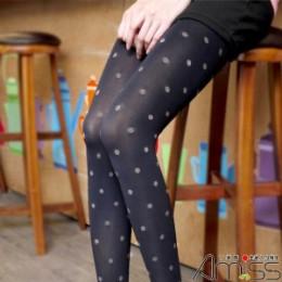 日本雜誌款流行褲襪丹寧風米色圓點 J-11873